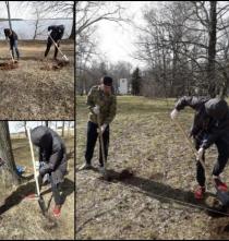 Работа по озеленению Парка Победы.